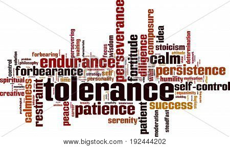 Tolerance word cloud concept. Vector illustration on white