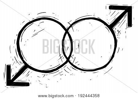 Hand drawing male and male symbols vector illustration.