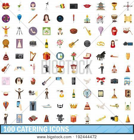 100 catering icons set in cartoon style for any design vector illustration