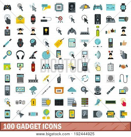 100 gadget icons set in flat style for any design vector illustration