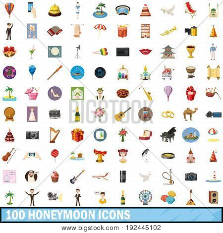 100 honeymoon icons set in cartoon style for any design vector illustration
