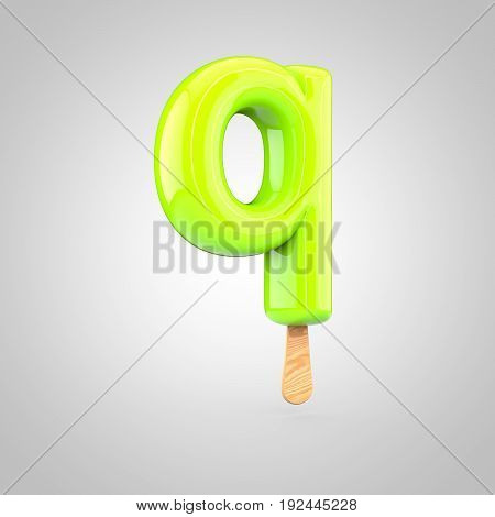 Ice Cream Letter Q Lowercase Isolated On White Background
