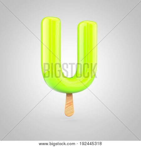 Ice Cream Letter U Uppercase Isolated On White Background