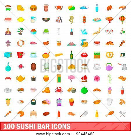 100 sushi bar icons set in cartoon style for any design illustration