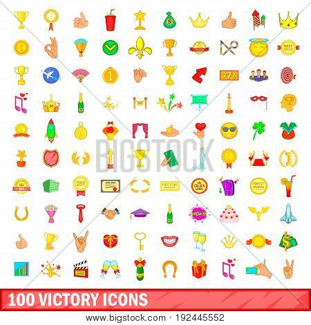 100 victory icons set in cartoon style for any design illustration