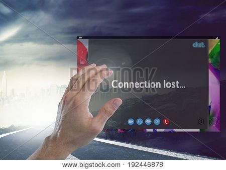 Digital composite of Hand touching Connection lost Social Video Chat App Interface