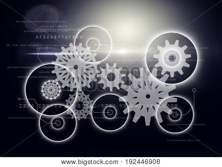 Digital composite of White gear graphic against dark background with flare