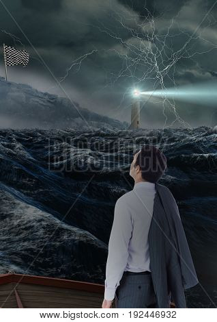 Digital composite of businessman looking to the checker flag in the sea with storm