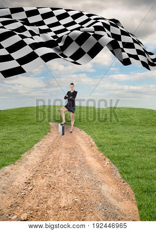 Digital composite of businesswoman at the end of the road with the checker flag in the start of the same road.