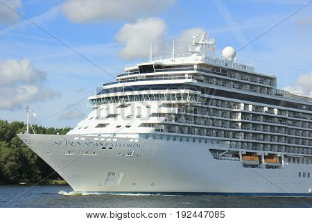 Velsen The Netherlands - June 16th 2017: Seven Seas Explorer - Regent Cruises on North Sea Channel towards North Sea