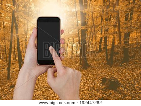 Digital composite of Hand Touching phone in forest