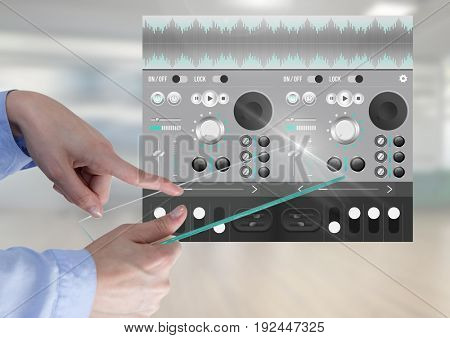 Digital composite of Hand Touching Glass Screen Sound Music and Audio production engineering equalizer App Interface