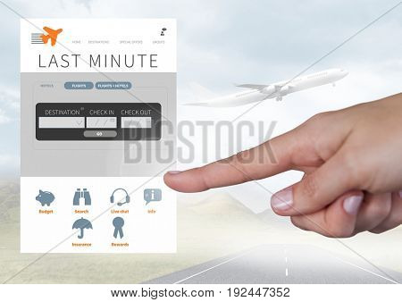Digital composite of Hand Touching Holiday break App Interface with airplane