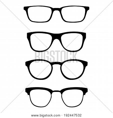 Set of glasses. Vector glasses model icons. Sunglasses isolated on white background. Silhouettes. Various shapes - stock illustration.