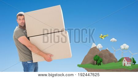 Digital composite of Delivery man carrying parcels with cliff in background