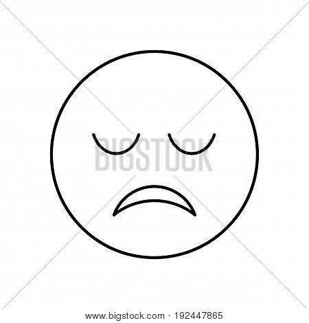 Sad face outline icon. Symbol unhappy emotion