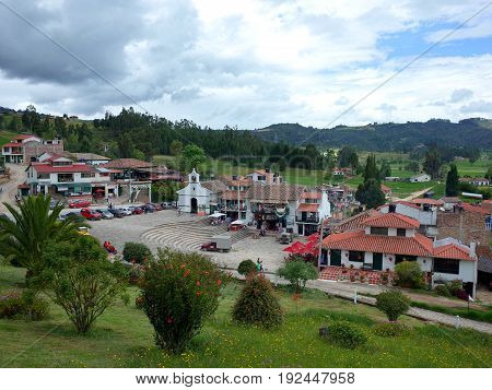 18TH JUNE 2017 PAIPA COLOMBIA - tourists spend the holiday of Corpus Cristi at the Pantano de Vargas monument in Paipa Boyaca Colombia