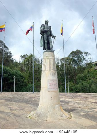 The statue of Francisco de Paula Santander at Puente de Boyaca the site of the famous Battle of Boyaca where the army of Simon Bolivar with the help of the British Legion secured the independence of Colombia