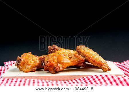 fried chicken wings on table