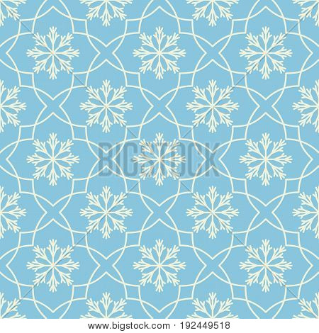 Seamless geometric pattern with snowflakes. Flat white elements on blue background. Vector illustration