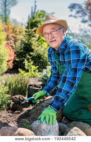 Senior gardener digging in a garden. Preparing soil for a new plant. Gardening concept.