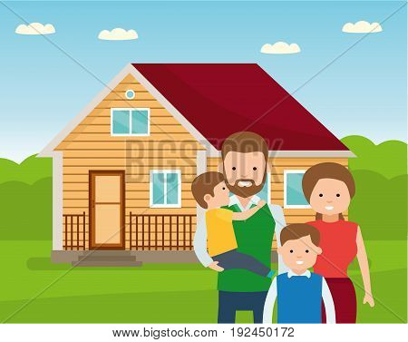 Happy family in the background of his home. Father, mother, and two son together outdoors. Vector illustrations in the flat cartoon style.