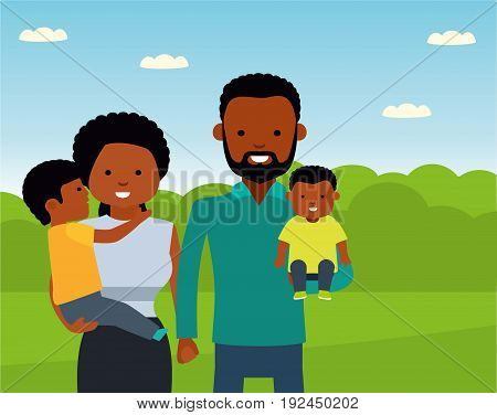 Happy African family in the Park. African American family. Vector illustration in a flat cartoon style