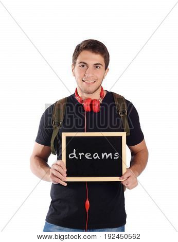 Man Holding Chalkboard With