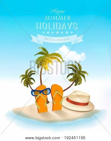 Summer holidays concept background  Vacation memories.  Vector.