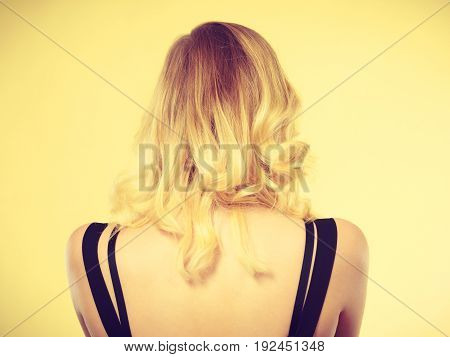 Blonde Woman Back With Black Dress Straps