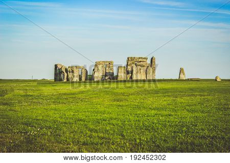 Stonehenge from a distance with the skyline