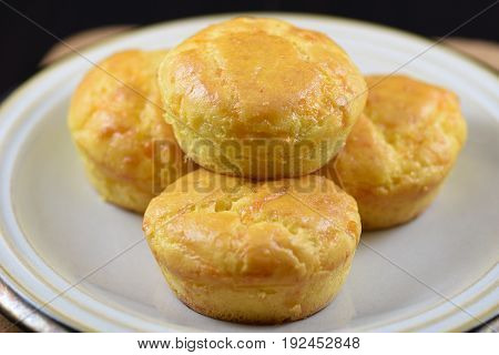 Close-up on a plate with low carb homemade cheese muffins