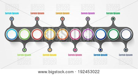 Infographic design elements for your business with 10 options parts steps or processes Vector Illustration.
