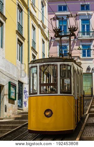 Typical Old Tram In Lisbon, Portugal