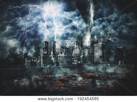 Disaster film poster concept with buildings of downtown Manhattan, New York city, being struck by huge lightnings in catastrophic, apocalyptic way, lava flames burning in foreground