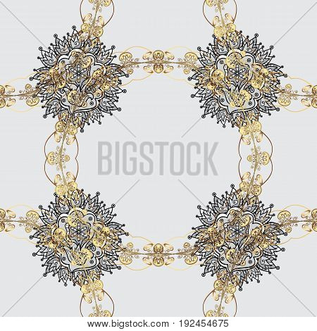 Vector line art seamless border for design template. Vector sketch for invitations thank you message web page. Golden outline floral decor. Golden element on gray background. Eastern style element.