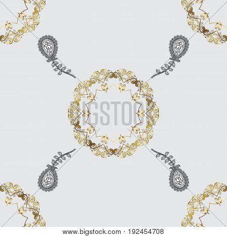 Gray background with golden elements. Vector golden pattern. Seamless golden textured curls. Vector illustration. Oriental style arabesques.