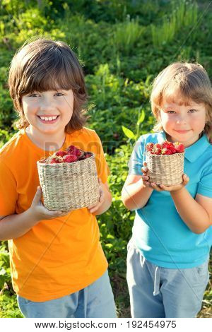 two cheerful boy with basket of berries