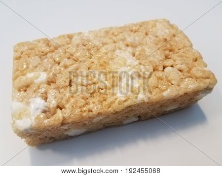 rice cereal bar treat with a lot of white marshmellow
