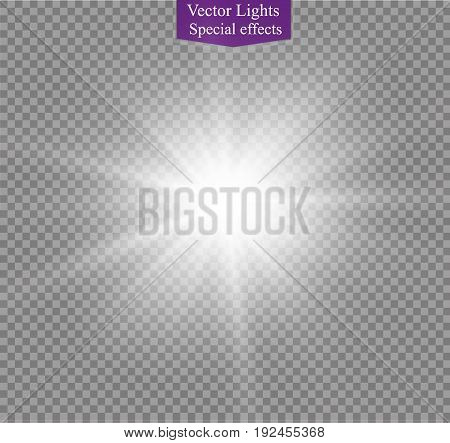 star on a transparent background, light effect, vector illustration. burst with sparkles.Sun.Special effect isolated on transparent background.spark