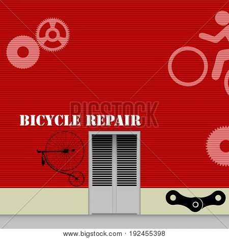 Red wall of a repair shop with bicycle symbols.