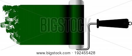 Classic paint roller paint green. Vector illustration