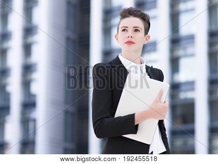 Modern Business Woman Holding Laptop