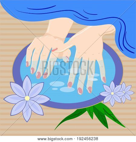 Manicure, hand care. Woman s manicured hands with bowl, towel and flowers, vector illustration