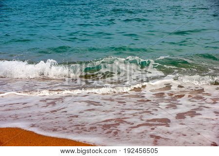 Beautiful clear transparent waves on the coast