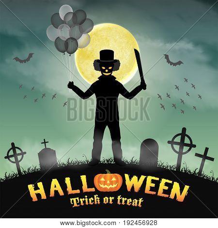 halloween spooky clown in a night graveyard