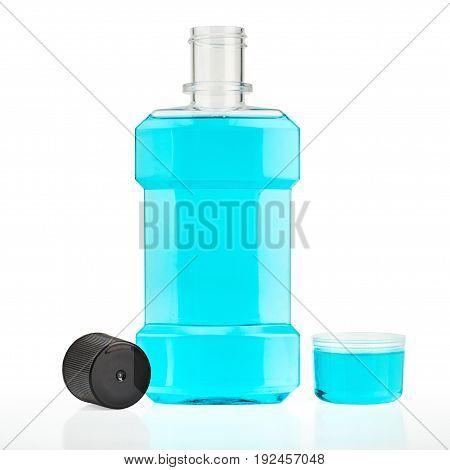 Blue water mouthwash isolated on white background