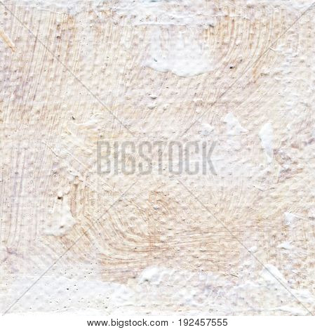 Abstract textured acrylic background in beige shades. Background of detail of beige oil painting. Beige creative abstract hand painted background of acrylic painting on canvas with brush strokes.