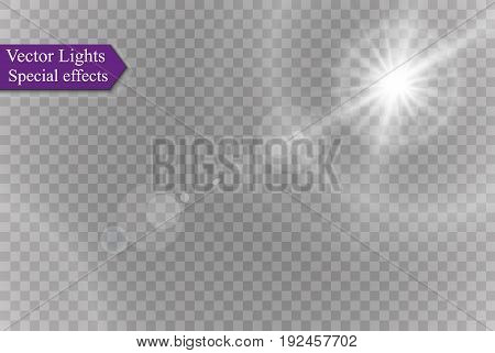 Abstract lens gold front solar flare transparent special light effect design. Vector motion blur glare glow.