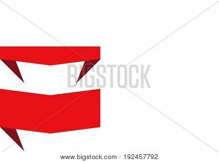 set red banner ribbon on white background. abstract banner ribbon. blank red banner.